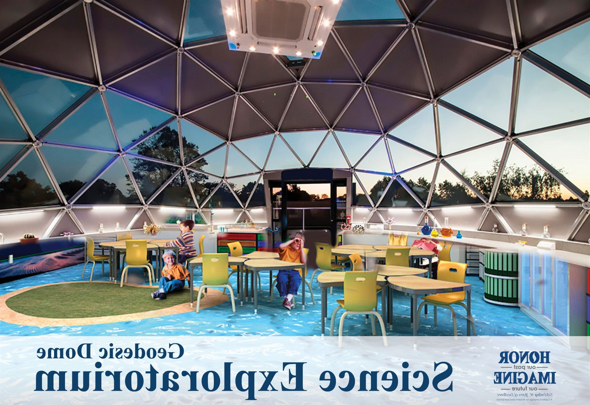 In Summer 2019, we will build a spectacular geodesic dome 科学探索博物馆.